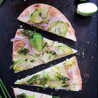 Quick Brussel Sprout & Chive Pizza.
