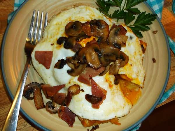 Mushroom, Country Ham & Swiss Breakfast Stack Recipe