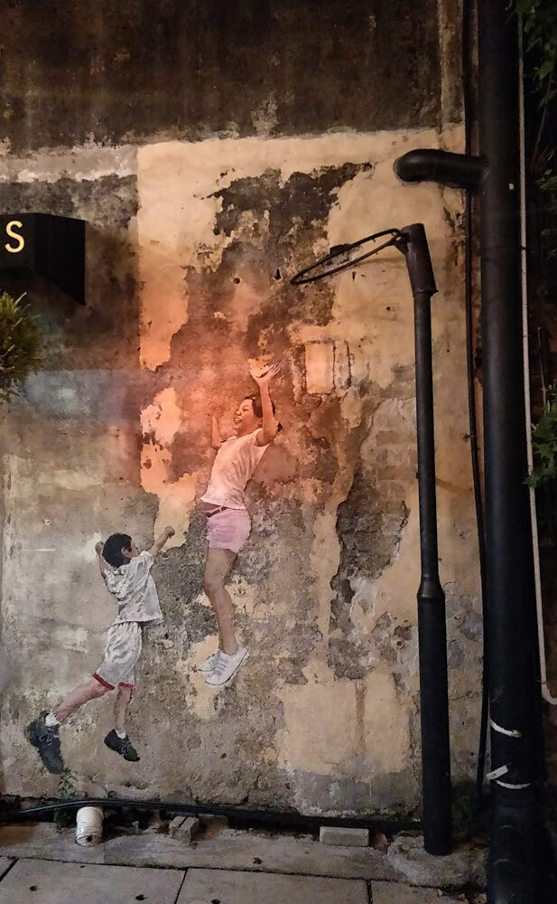 children+playing+basketball+art+penang+streets+malaysia