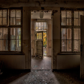 Come in, Welcome by Buffan Walter - Buildings & Architecture Decaying & Abandoned ( whole in the wall, door, germany, windows, open door, beautiful decay, sanatorium, decay, abandoned,  )
