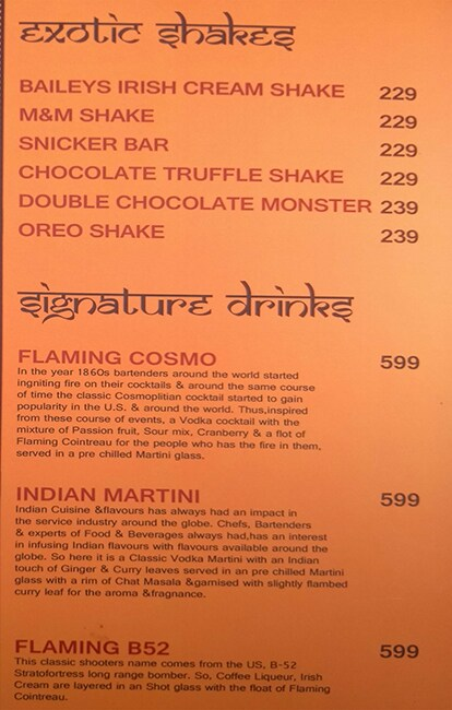 Bollywood Biistro menu 1