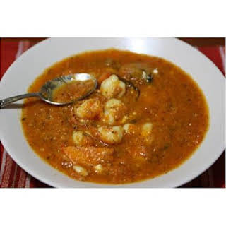 Tomato Basil Carrot Soup With Gnocchi.