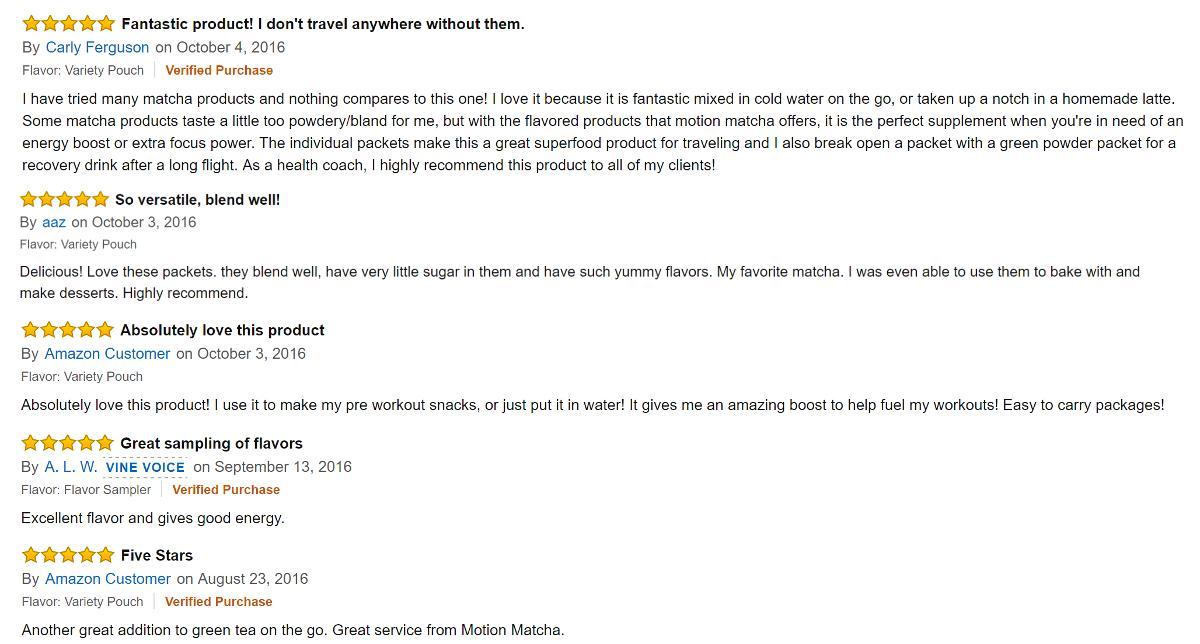 Motion Matcha flavored matcha green tea powder Amazon reviews