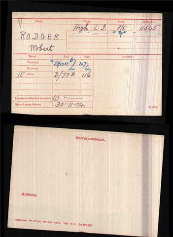 Robert Rodger's Medal Index Card