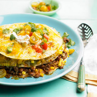 Stacked Sweet Corn, Bean, and Beef Casserole.