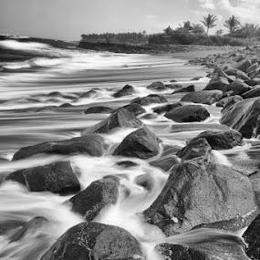 Slo-Mo by Fariz Mohammad - Landscapes Beaches ( bali, noir, black and white, long exposure, beach, rocks )
