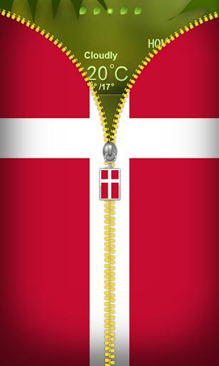 Denmark Flag Zipper Lockscreen