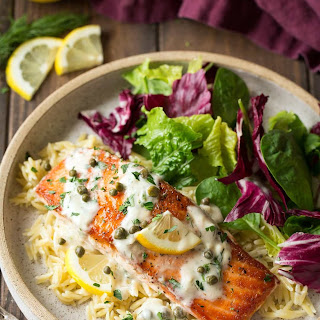 Creamy Salmon Piccata.