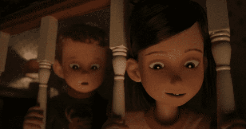 """Christmas is back a little early. Two young children peer down from the second floor to catch a glimpse of Santa Claus in Netflix's """"Love, Death & Robots."""""""