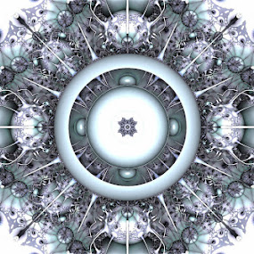 white widow by Caƶ Dickson - Digital Art Abstract ( nemitode, white, virus, symmetry, fractal )