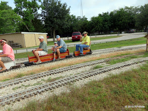 Photo: Doug Payne is the conductor on the second train of the day.   HALS Public Run Day  2016-0716  RPWhite