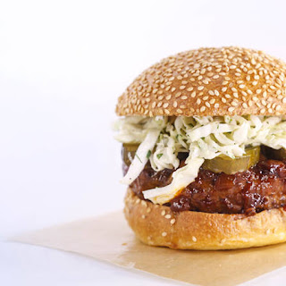 BBQ-Dipped Burgers with Ranch Slaw.