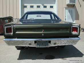 Photo: rear of 69 runner with new paint and decals, new chrome to