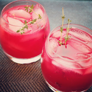 Gin Ginger Beet Cocktail with Thyme.