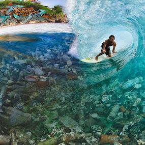 Dying Oceans  by Trevor Murphy - Digital Art Places ( bali, girls, uluwatu, trash, fun, sun )