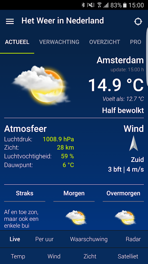 Weather in Holland: the app- screenshot