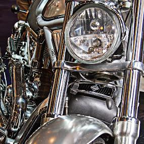 Harley Davidson by Jean-marc Payet - Transportation Motorcycles ( miroir, objets, reflets, fer, transports, lumière, moto, métal, chrome, textures-, effets )