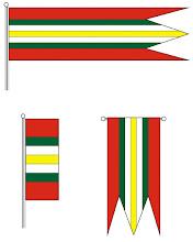 Photo: A falu zászlóinak színes rajzai:zászló, rövid zászló, függő zászló