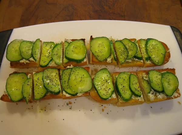 Baguette With Feta Spread And Cucumber.