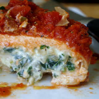 Spinach and Ricotta Stuffed Chicken with Basil Marinara.