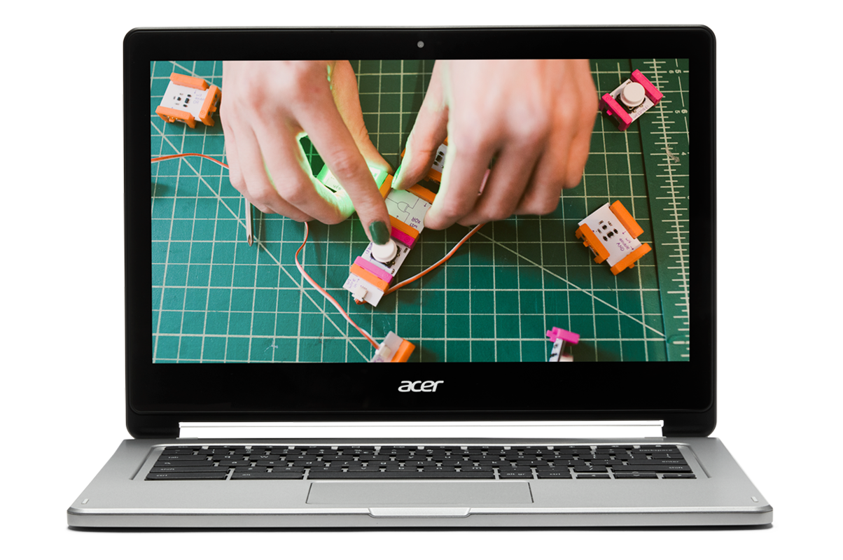 If creativity and code coexist in the classroom You Chromebook. Image of a Chromebook showing hands putting together a circuit or mechanical device.