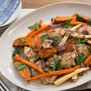 Apple Cider-Glazed Chicken with Roasted Parsnip, Carrots & Baby Sweet Potatoes Recipe