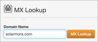 MX Lookup Domain Name Field & MX Lookup button.