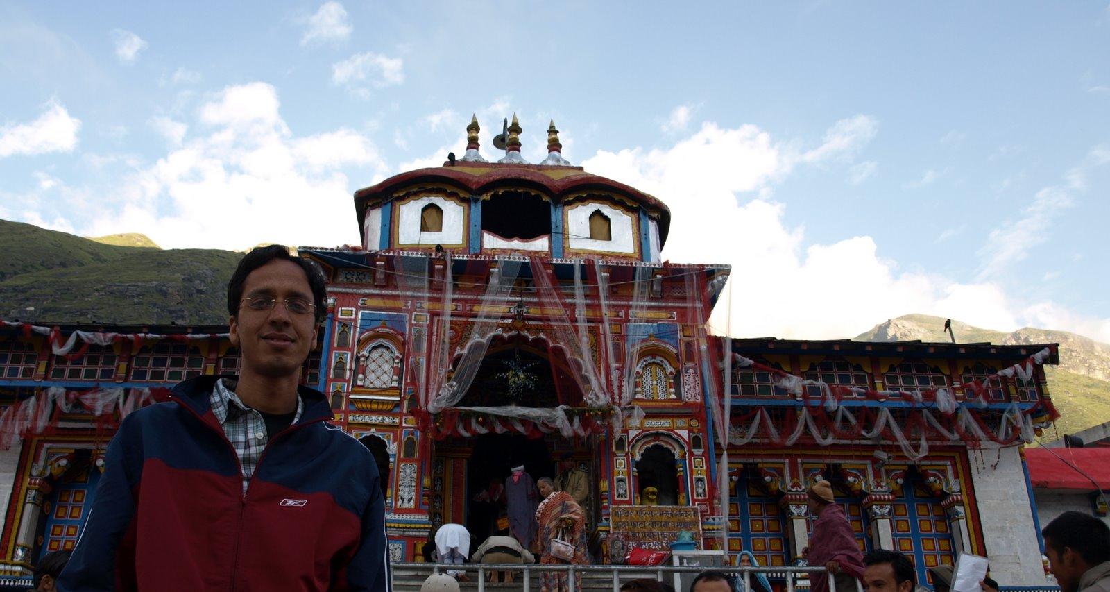Photo: Pankaj with Badrinath temple