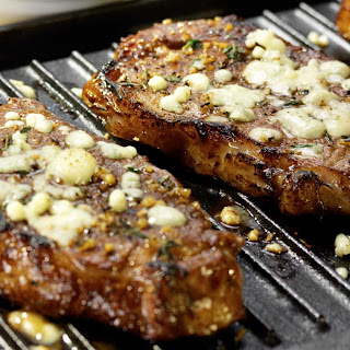 Steak with Gorgonzola Thyme Crust.