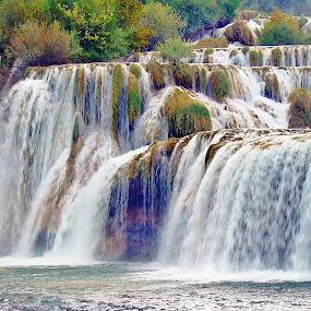 WATERFALLS by Wojtylak Maria - Nature Up Close Water ( waterfalls, expressive, nature, plants, water,  )