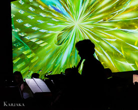 """Photo: projection: Scott Draves """"Composition on a Blue Spot #2"""" music: Paul Haas's Sympho ensemble at the Rubin Museum 2013.06.12 photo by Karjaka Studios"""