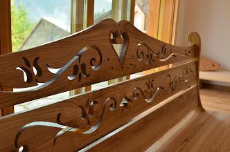 Photo: Góralska ława szlaban szlabanek ławka ręczna praca jesion drewniana z drewna meble góralskie