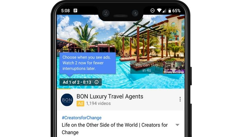 YouTube is testing out back-to-back adverts, but unlike with TV, viewers will be able to skip them.