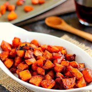 Roasted Maple Cinnamon Sweet Potatoes.