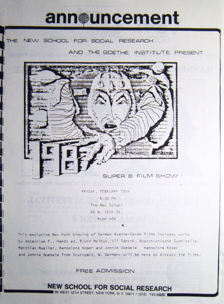 Photo: Film Department The New School, New York City, 1987 Flyer, 8.5 x 11 inch