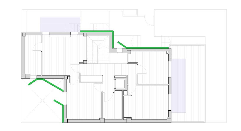 Planta de la propuesta de jardín vertical proyectado LeafSkin para rehabilitación energética vegetal