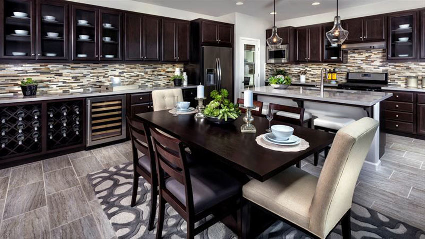 dark brown kitchen cabinets with espresso dining table and matching chairs