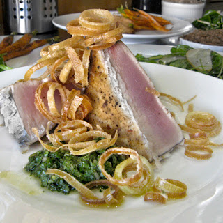 Albacore with Deep-Fried Leeks and Salsa Verde.