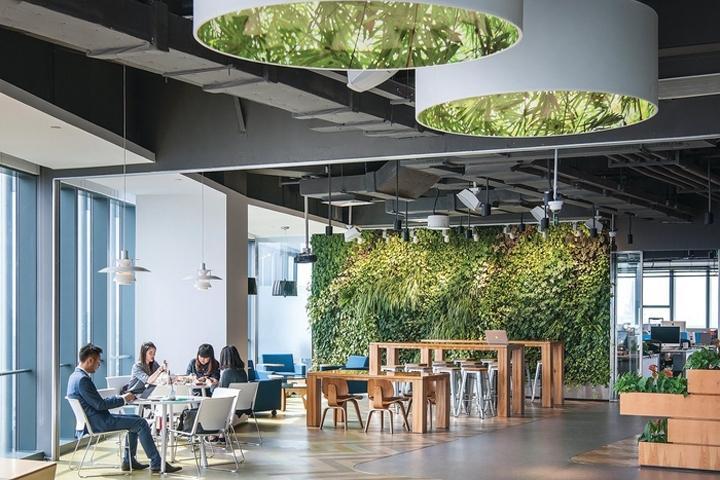 Kết quả hình ảnh cho Thiết kế văn phòng mở với cây xanh