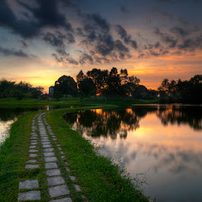 pathway to heaven by Mohd Hisham Ahmad - Landscapes Prairies, Meadows & Fields ( dri, tasik taiping, hdr, pathway, sunset, malaysia, lake, landscape, perak, photography )
