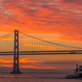 Sunrise on the SF Bay by Gusty Stambaugh - Landscapes Sunsets & Sunrises ( tugboat, bridge, sunrise, bay bridge, boat )