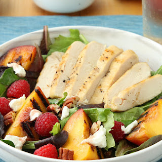 Grilled Peach and Chicken Salad with Raspberry Vinaigrette Recipe