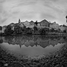 Neckar Skyline by Matthias Weigel - Landscapes Travel ( half timbered, skyline, reflection, tubingen, hdr, black and white, bw, tuebingen, panorama, ptgui, 180°, neckar, frame house, south, germany, panosaurus )