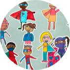 Illustration of several kids dressed as super heroes