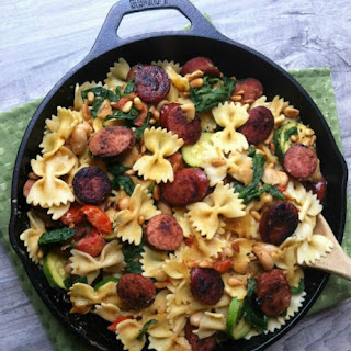 Smoked Sausage, White Bean and Spinach Pasta with Toasted Pine Nuts.