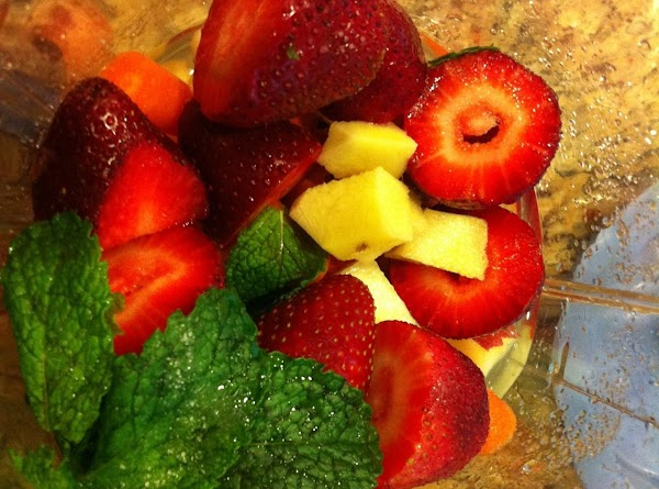 Blend all the ingredients together except ice till smooth.   Serve with ice or chilled!...