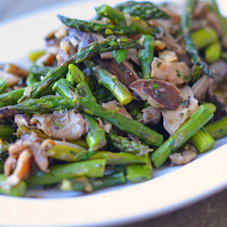 Sautéed Wild Mushrooms with Roasted Asparagus