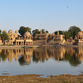 Golden hour by Paras Bhalla - Buildings & Architecture Statues & Monuments ( tomb, rajasthan, india, lake, golden hour )