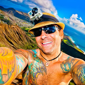 Living Life Self by Anthony Tortoriello - People Portraits of Men ( life, atort, tattoos, happy, self, paradise, portrait, hawaii, gary fong, self portrait, selfie )