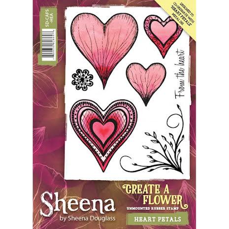 Sheena Douglass Create a Flower A6 Rubber Stamp - Heart Petals UTGÅENDE